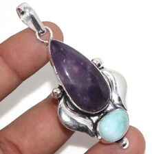 "Handmade Pendant 2.6"" Ethnic Gift Gw Amethyst Larimar 925 Silver Plated Gemstone"