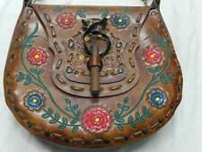 VTG Handmade & Hand Painted Brown Leather Bag Boho Hippie Floral Purse