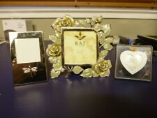 Lot Of 3 Picture Frames Rose, Dragonfly & Heart w/ Flowers