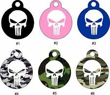 Cute Custom Personalized Pet ID tag for Dog and Cat ROUND Tags Charm PUNISHER