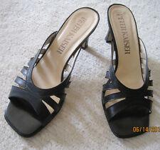Peter Kaiser Slides Med Heel Black Leather Sandals Size 7.5 M