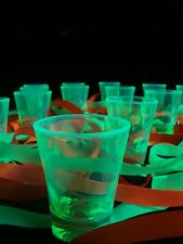 UV Black Light Reactive NEON Fluorescent TEQUILA SHOT GLASS VODKA Party Set of 2