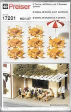 Preiser Tables, Chairs (48) and 1 Sunshade in HO, 1/87  17201 ST