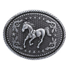 American Western Cowboy Rodeo Running Horse Engraved Oval Animal Belt Buckle