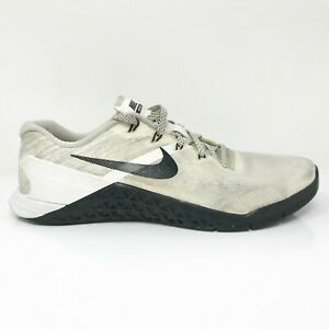 Nike Womens Metcon 3 849807-100 White Black Running Shoes Lace Up Low Top Size 9