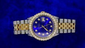 Rolex 36mm Two Tone Date Just Jubilee Watch 9 Carats Diamonds Royal Blue Dial.