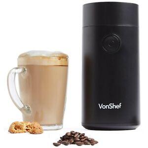 VonShef Coffee Grinder 150W for Coffee Beans, Grains, Spices & Nuts- Matte Black