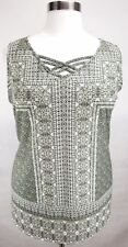 CATHERINES OLIVE GREEN PRINTED EMBELLISHED SLEEVELESS TOP PLUS Sz 2X 22/24W