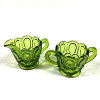 Vintage LE Smith Moon And Stars MCM Green Glass Creamer & Open Sugar Bowl Set