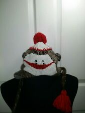 Sock Monkey Hat winter toboggan ear flaps pom beanie One Size unisex chin straps