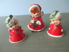 Set of 3 Vintage Ceramic Angel Figurine Girls Christmas Bell Ornaments Red Sweet