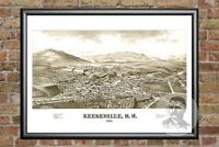 Old Map of Keeseville, NY from 1887 - Vintage New York Art, Historic Decor
