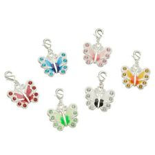 6Pcs Butterfly Silver Plated Alloy Enamel Rhinestone Pendants With Brass Finding