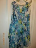 Dress Barn Womens Plus Sleeveless Blue/green paintbrush design 20W