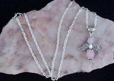 Rose Quartz Guardian Angel Pendant, Chain Necklace. Handmade In Gift Bag