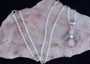 Rose Quartz Guardian Angel Pendant, Chain Necklace. Handmade In Gift Bag