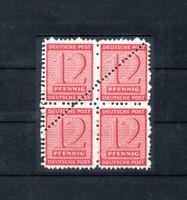 Postmeistertrennung SBZ West Sachsen Viererblock Mi.Nr. 119 A postfrisch geprüft
