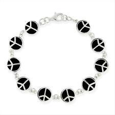 925 Silver Black Enamel Peace Signs Bracelet, 7.25