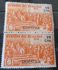 Ecuador Pair of  1936  Specimen Stamps 10 Ctvs   Uncirculated