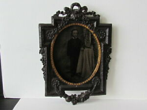 1850's-60's vulcanized wood photograph wall frame with little boy tintype