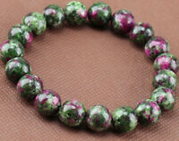 Natural 8mm Green Red Ruby In Zoisite Round Gemstone Stretch Bracelet 7.5'' AA