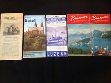4 X VINTAGE SWITZERLAND BASEL LUZERN BRUNNEN TRAVEL HOLIDAY LEAFLET