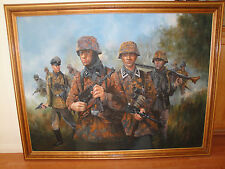 "FRAMED ART PAINT ""WW2 GERMAN PANZER GRENADIERS IN ACTION"" 53 X 41 WITH FRAME."