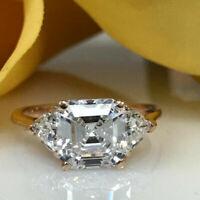 14K Rose Gold Finish 1.5 CT Asscher White Moissanite Three Stone Engagement Ring