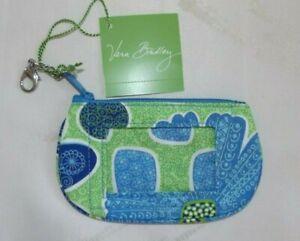 VERA BRADLEY Clip Zip ID Case Credit Cards Key Chain Doodle Daisy Green Blue NWT