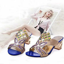 Womens Sandals Summer Rhinestones Mid Heels Shoes Open Toe Fashion Slippers