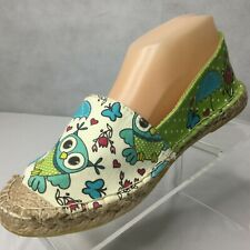 Cotto Owl Canvas Slip On Shoes Espadrille Flats Sz 39 US 6 Rain Day Green New