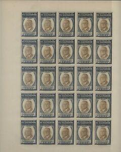 El  Salvador  nice  large  Roosevelt  1 colon mint NH  imperf sheet of 25, essay