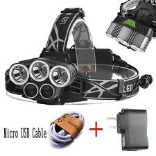 50000LM 5-Head XM-L XML T6 LED 18650 Micro USB Headlamp Headlight Torch Chargers