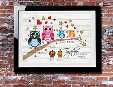 Personalised FAMILY Branch Owl Picture Print Tree Canvas Vintage Owls Rustic
