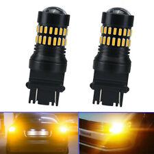 2x Yellow Amber 3157 3156 LED DR Turn Signal Parking Lights Blinker Corner Bulbs
