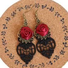 Hot Sale Women Cutout Lace Dangle Red Rose Alloy Vintage Flower Earrings Jewelry