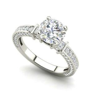 Three Sided Pave 1.6 Carat VVS1/D Round Cut Diamond Engagement Ring White Gold
