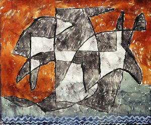 PAUL KLEE Lake Ghost APPARITION geometric black white waves orange NEW PRINT!!