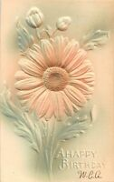 A HAPPY BIRTHDAY-AIR BRUSHED FLOWER-EMBOSSED POSTCARD 1900s