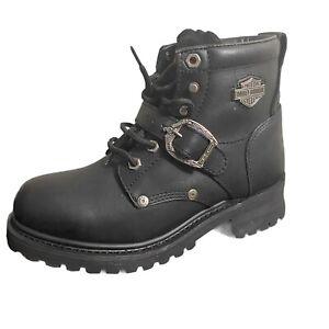 Harley Davidson Womens Boots Size 7.5 Black Leather Motorcycle Biker 81024 Strap