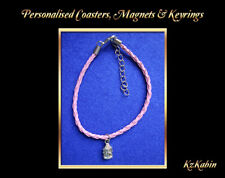 Buddha Head Charm on Pink Faux Leather Braided Cord Bracelet Birthday Xmas Gift