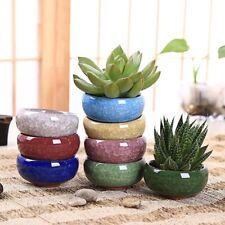 8PCS/Lot Ice-Crack Ceramic Flower Pots For Plants Small Bonsai Pot Home & Garden