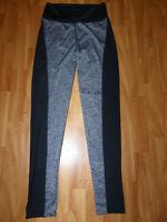 Neue YR LOVER Damen Yoga Compressions Leggings Gr L Sporthose Sport Schwarz/Grau