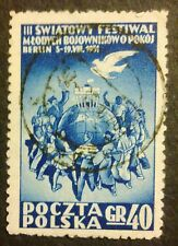 POLAND STAMPS Fi566 Sc523 Mi701 - Youth Festival Berlin, 1951, used