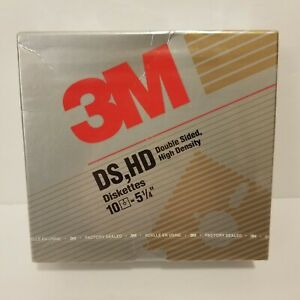 """3M Floppy Diskettes DS HD Double Sided High Density 5 1/4"""" Box Of 10 New Sealed"""