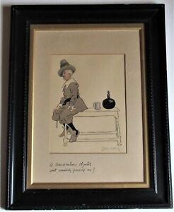 Starr Wood, original charcoal & wash cartoon, World War 1, signed, framed, c1914