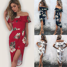 Women Bardot Sundress Off Shoulder Frill Floral Bodycon Midi Party Wrap Dress