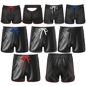 Mens Low Rise Boxer Shorts Faux Leather Wet Look Bulge Pouch Underwear Clubwear