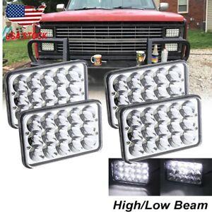 4PCS 4x6'' LED Headlight Hi/Lo sealed beam For Chevrolet Pickup C10 C20 K10 K20