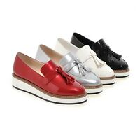 Womens Patent Leather Tassels Wedge Platform Creeper Slip On Shoes Loafers Size